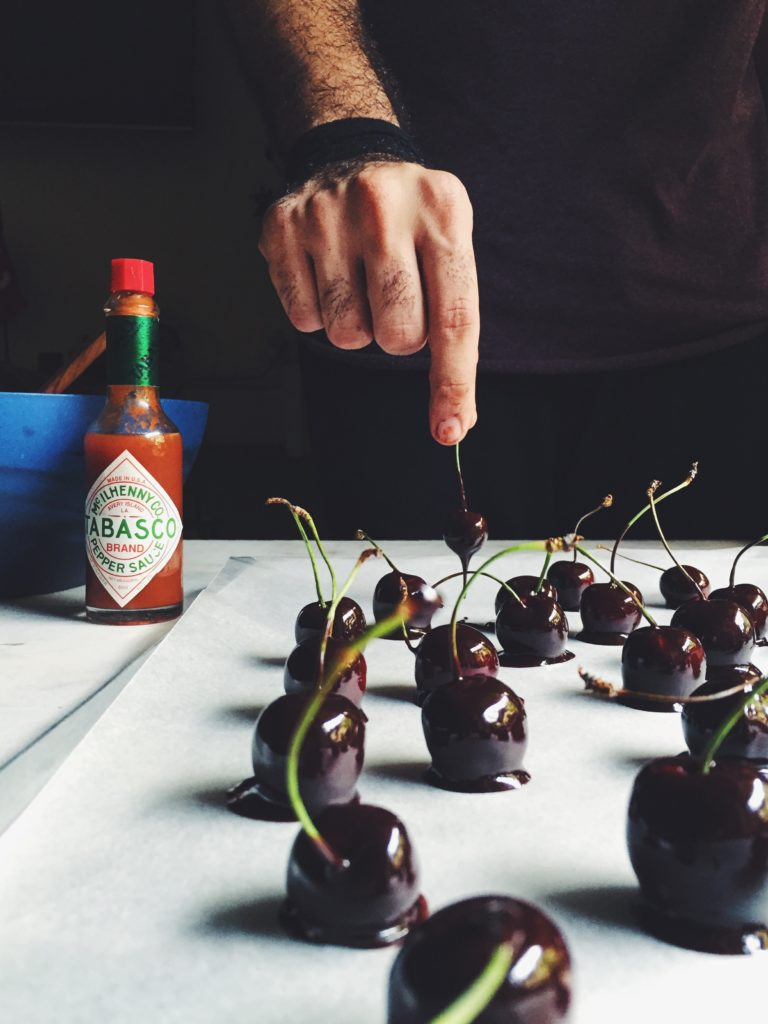 Cherries dipped in chilli chocolate