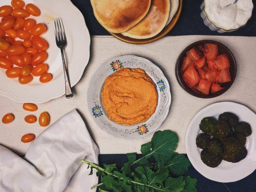 Hara Chana Falafels With Roasted Red Carrot Hummus