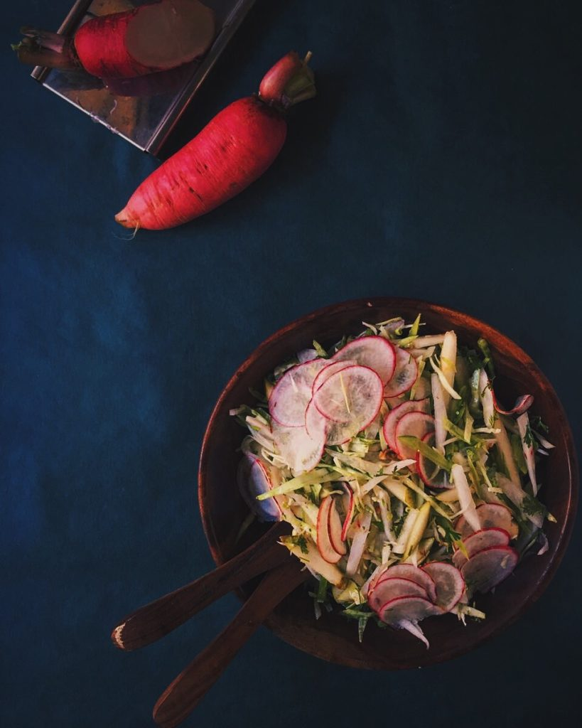 Pickled Red Radish and Pear Slaw