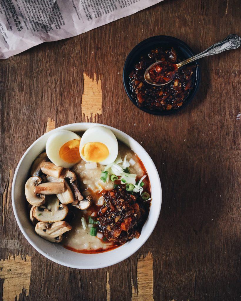 Red Rice Congee With Homemade XO Sauce