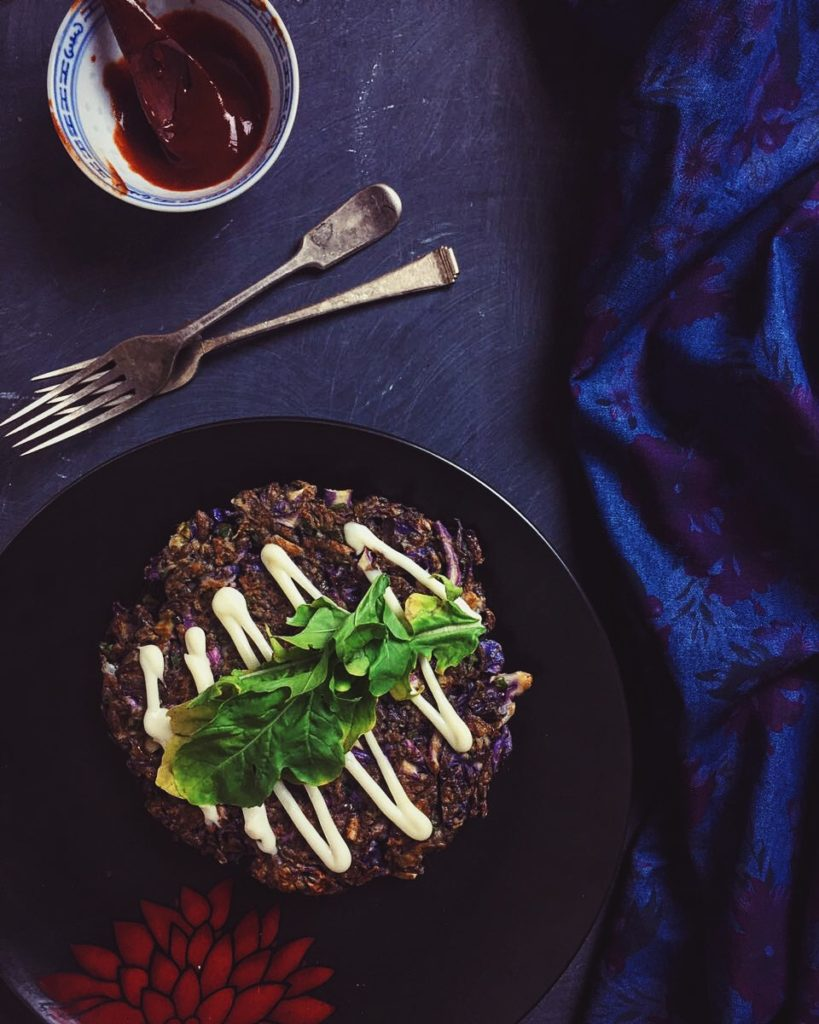 Purple Yam and Purple Cabbage Okonomiyaki