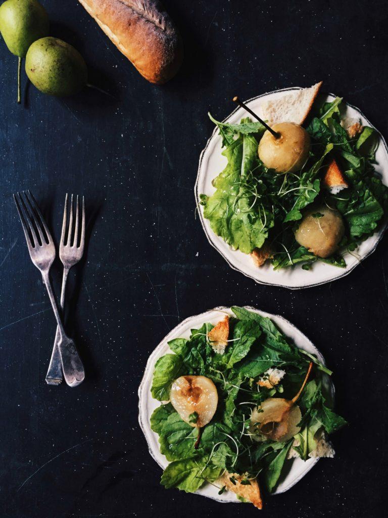 Wasabi Rocket and Poached Pear Salad