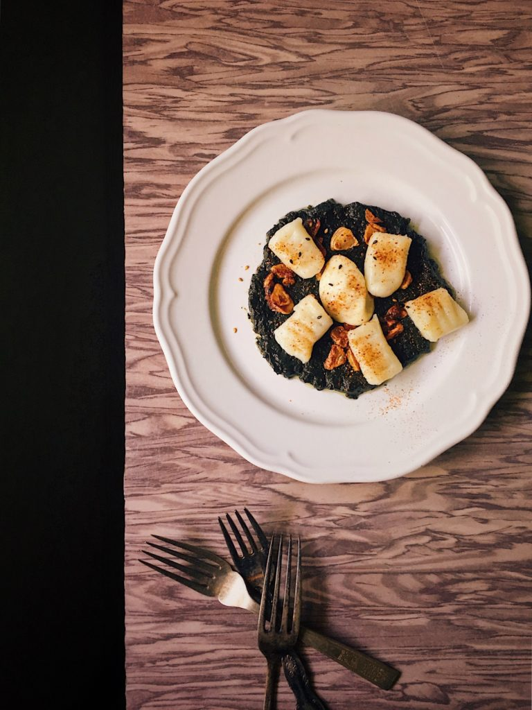 Gnocchi With Nori Brown Butter Puree and Togarashi Topping