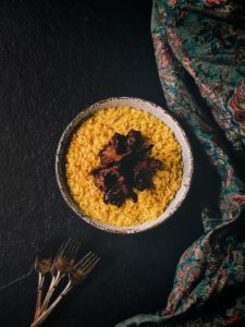 Risotto Alla Milanese with Mutton Chops Agrodolce