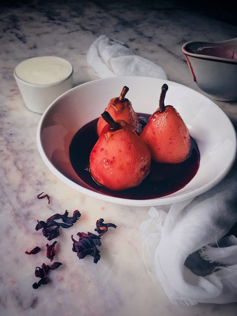Hibiscus and Sumac Poached Pears