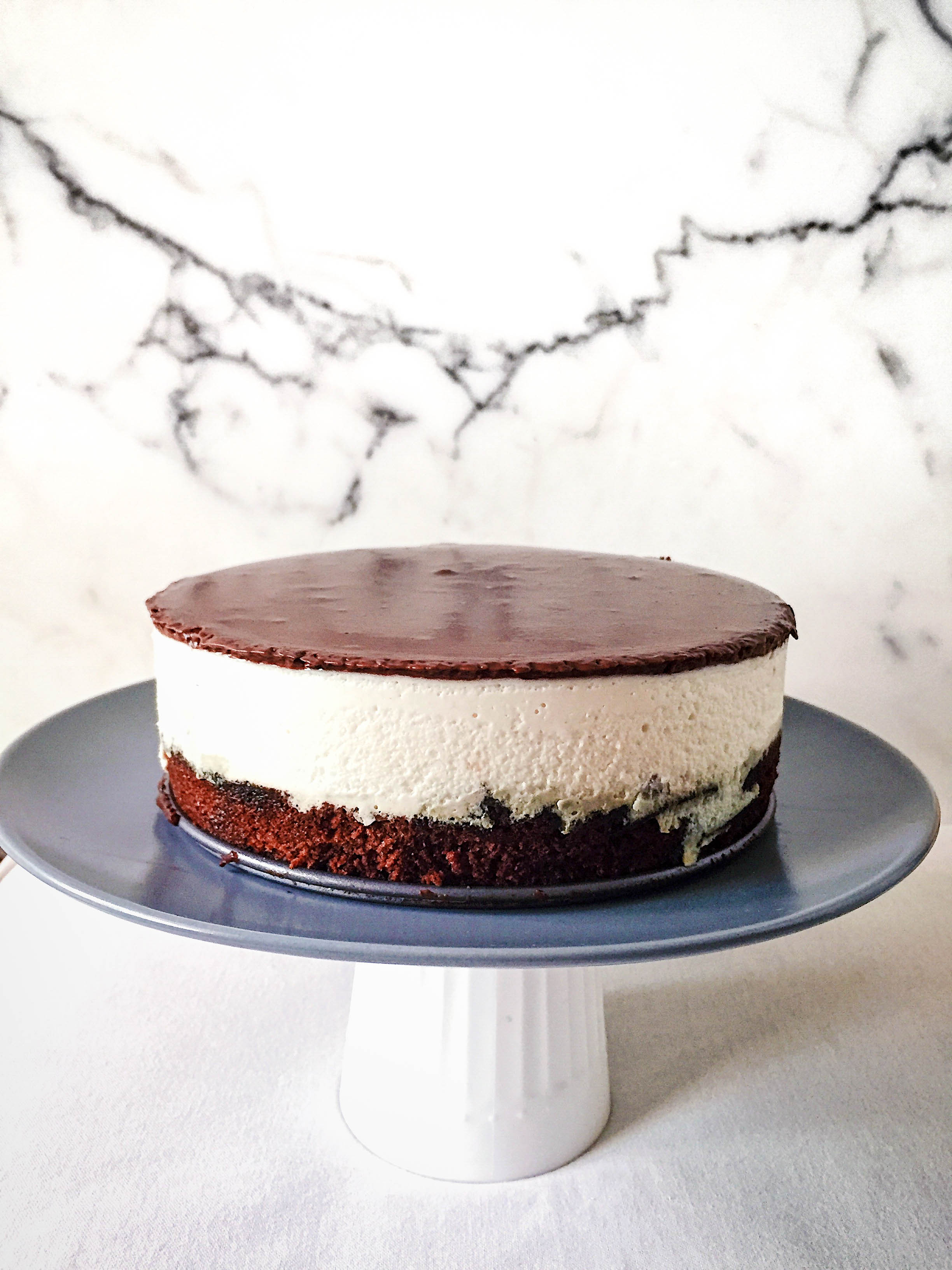 Chocolate and Poached Pear Mousse Cake