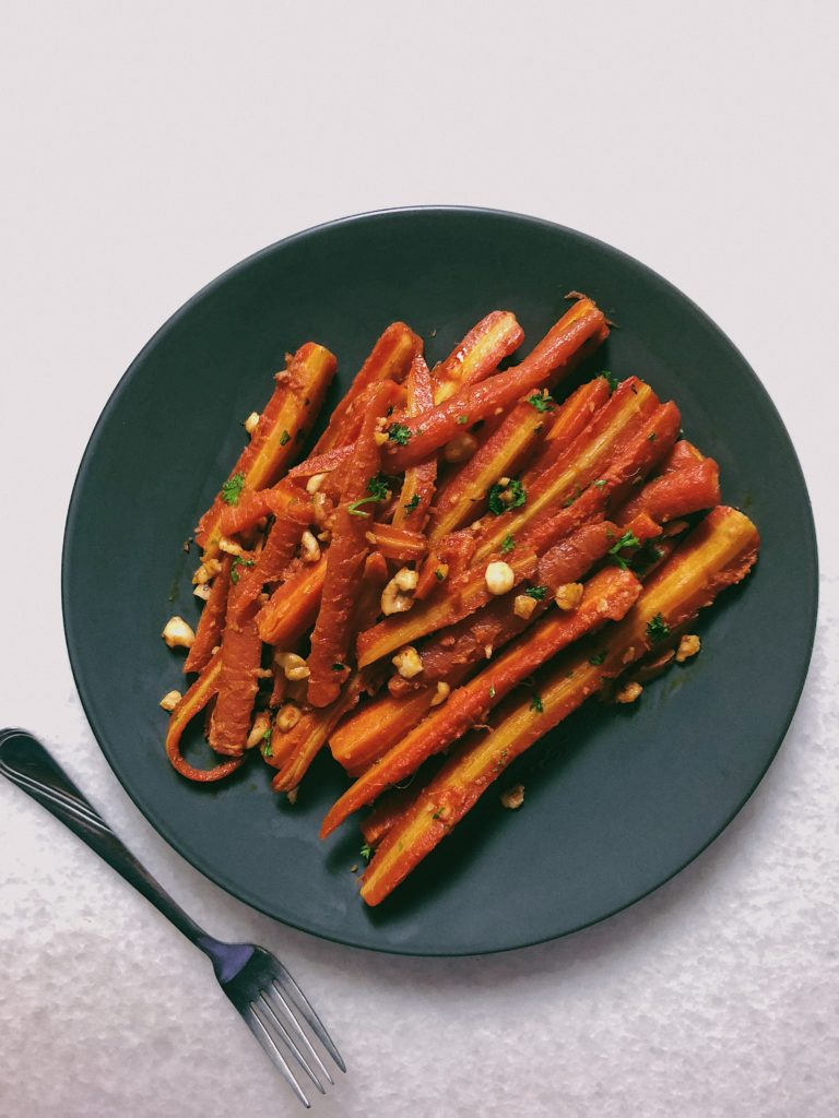 Brown butter carrots with hazelnuts and chilli