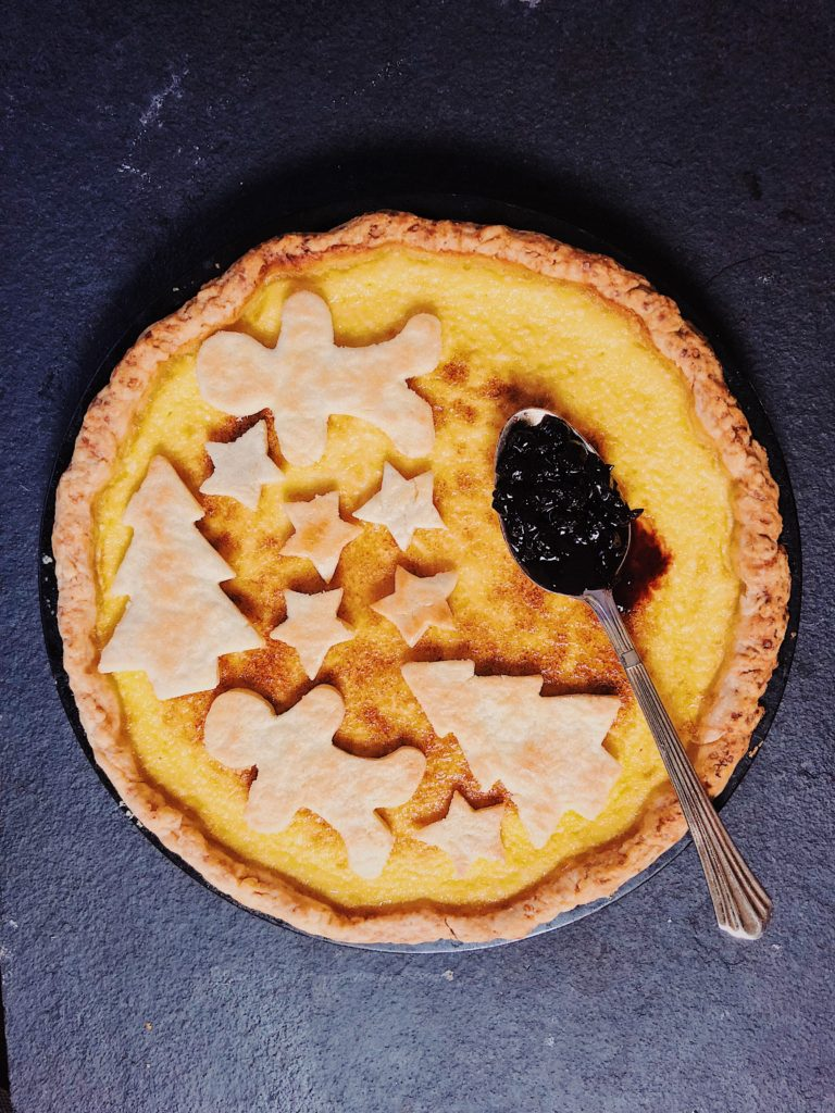 Nasik Orange tart with blueberry compote