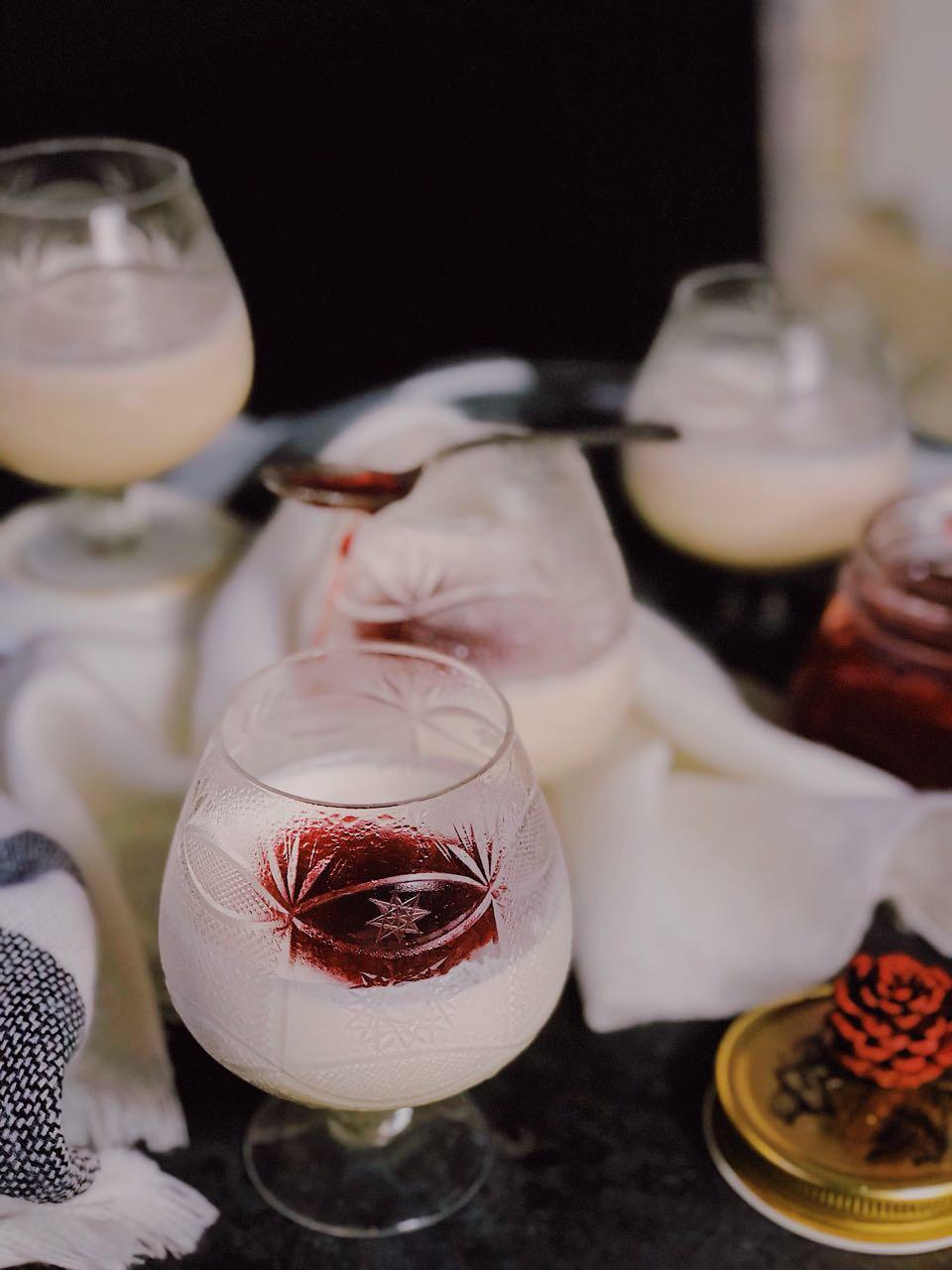 Coquito Panna Cotta + Strawberry and Gin Jam