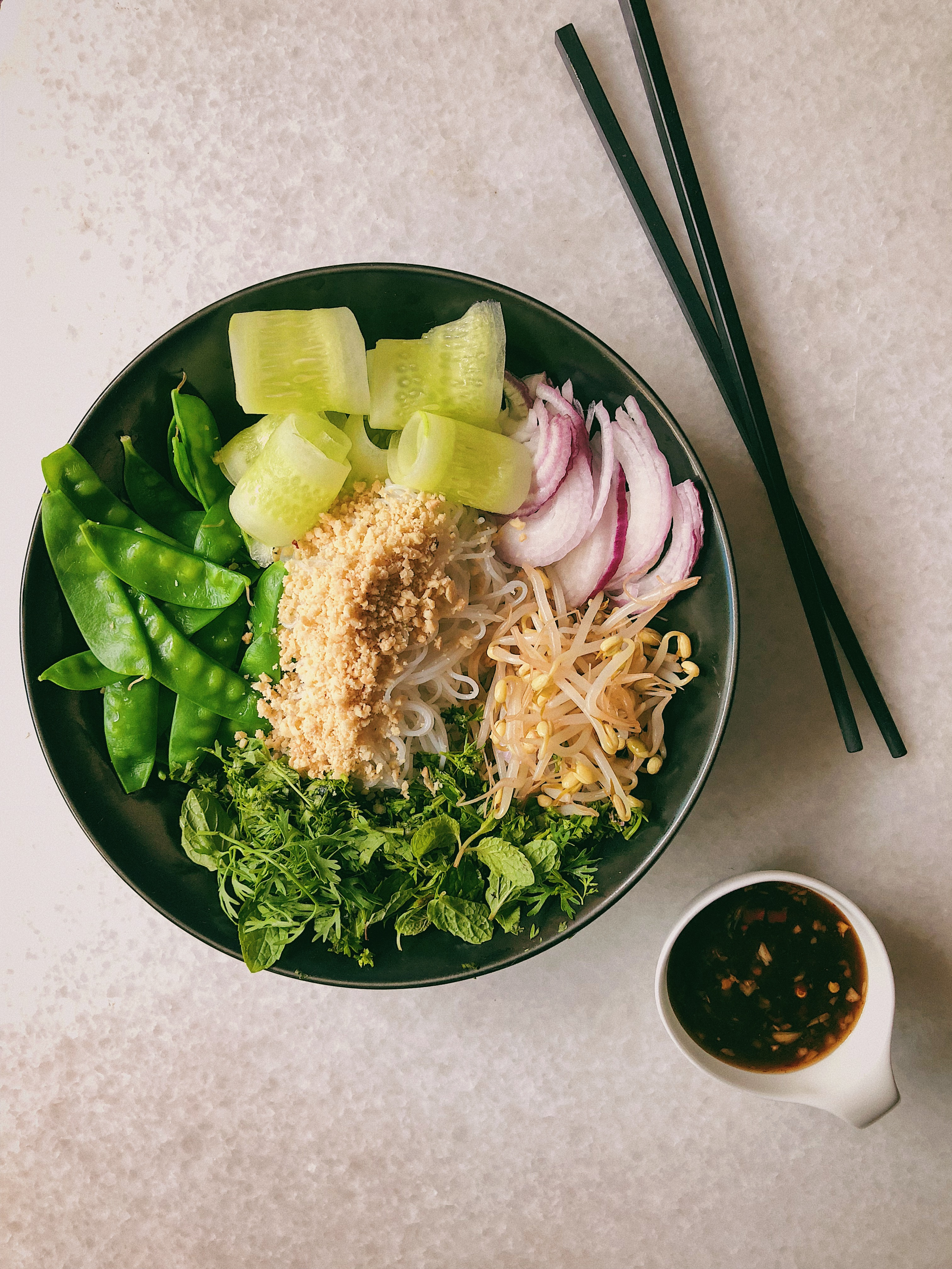 Rice Noodle Bowl With Mangetout, Sprouts and a Chilli Dressing