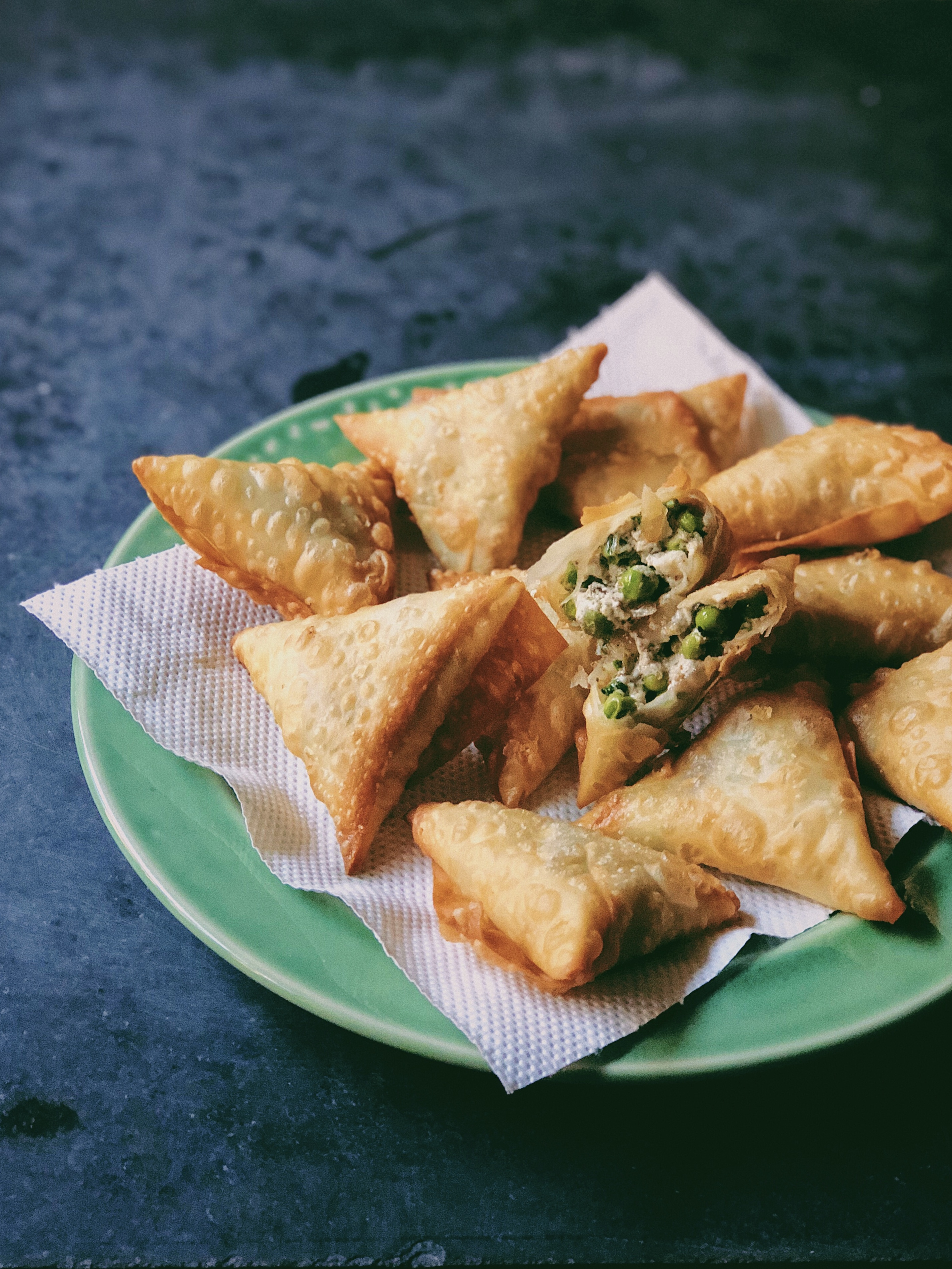 Green Peas, Feta, Mint and Za'atar Samosas