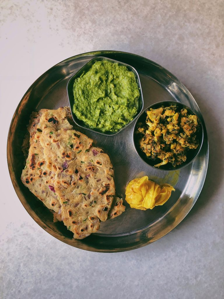 Sindhi Thaali with Jowar Dodo, Eggplant Chutney, Padma Aunty's Methi Gobi Aloo and Gathri Achar