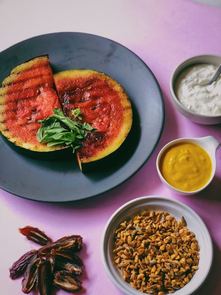 Grilled Watermelon With A Mango Dressing, Granola and Dates