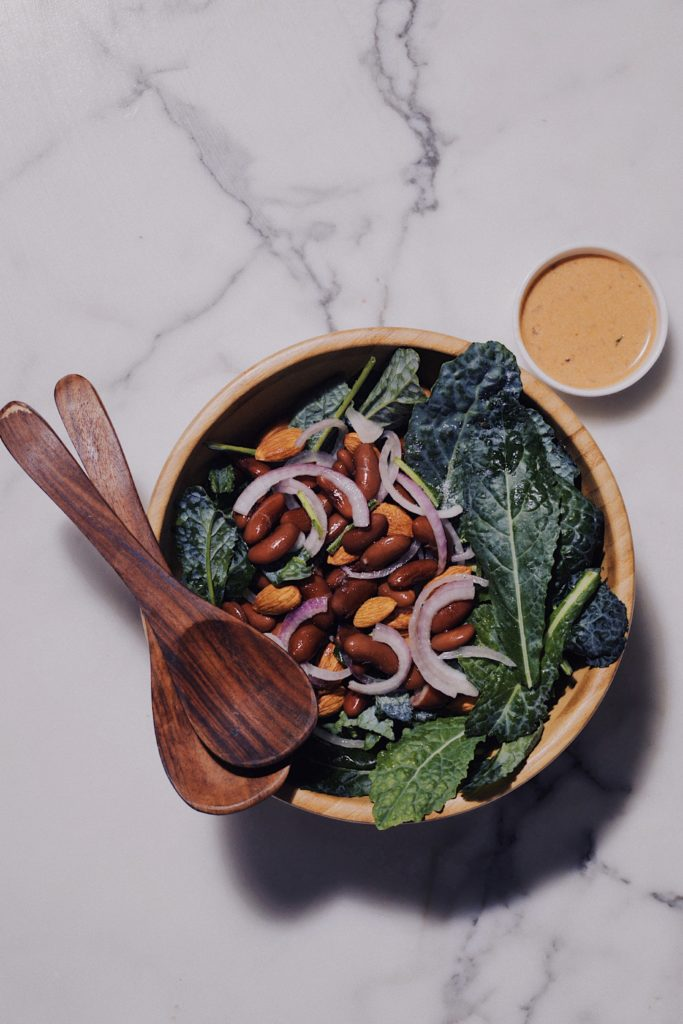 Baby Kale and Kidney Bean Salad With A Chipotle Coconut Milk Dressing
