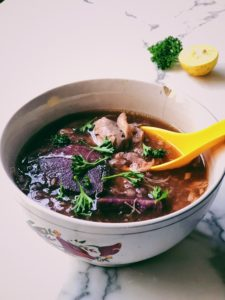 Instant Pot Chicken Soup With Pink Sticky Rice and Purple Sweet Potatoes