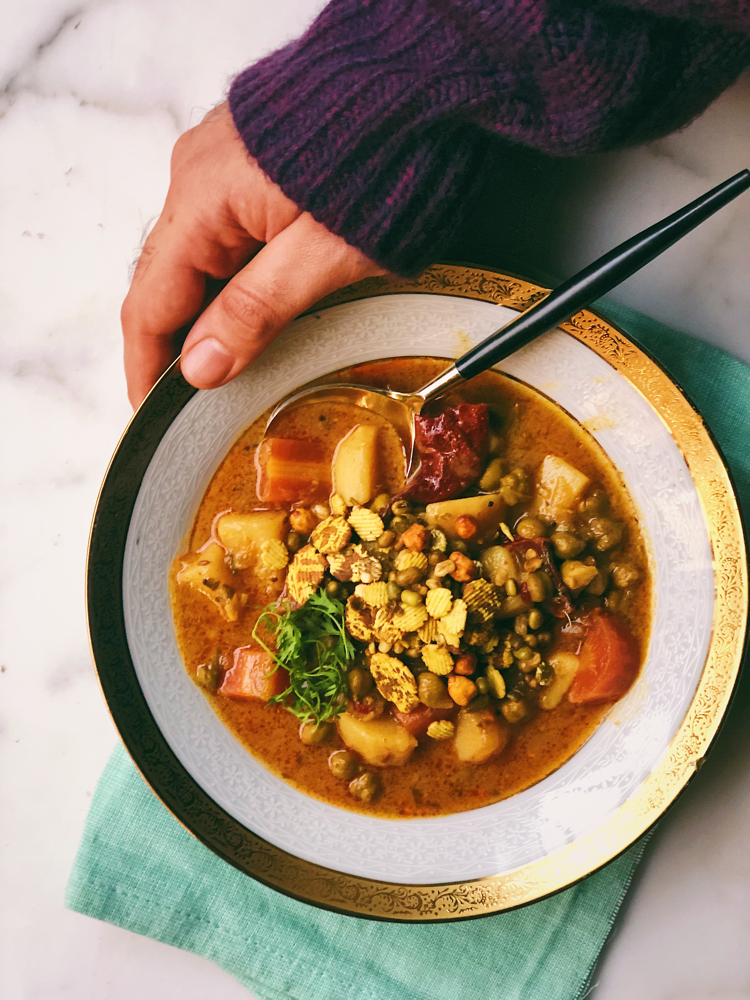 Winter Vegetable Soup With Chana Chor Garam Topping